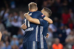 February 23, 2019 - Melbourne, VIC, U.S. - MELBOURNE, VIC - FEBRUARY 23: Melbourne Victory forward Kosta Barbarouses (9) celebrates with Melbourne Victory forward Ola Toivonen (11) at round 20 of the Hyundai A-League Soccer between Melbourne City FC and Melbourne Victory on February 23, 2019 at Marvel Stadium, VIC. (Photo by Speed Media/Icon Sportswire) (Credit Image: © Speed Media/Icon SMI via ZUMA Press)