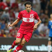 Turkey's Mehmet TOPAL during their a international friendly soccer match Turkey betwen Estonia at TT Arena Istanbul August 10, 2011. Photo by TURKPIX