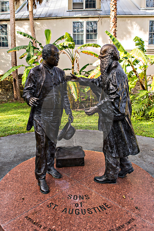 Statue to the Sons of St. Augustine at the Historical Society on Aviles Street in the historic district in St. Augustine, Florida. St Augustine is the oldest city in America.