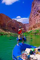 Hula hooping, White water rating trip (oar trip), Marble Canyon, Colorado River, Grand Canyon National Park, Arizona, USA