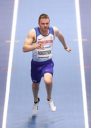 Great Britain's Andrew Robertson during heat 4 of the Men's 60m, during day three of the 2018 IAAF Indoor World Championships at The Arena Birmingham.