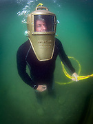 Snead shallow water helmet demonstrated by  commercial diver at Dutch Springs, Scuba Diving Resort in Bethlehem, Pennsylvania