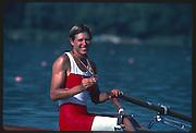 Banyoles, SPAIN, BRONZE Medalist,  CAN W1X SILKEN LAUMANN,  awards dock showing her Bronze Medal. 1992 Olympic Regatta, Lake Banyoles, Barcelona, SPAIN.    [Mandatory Credit: Peter Spurrier: Intersport Images]