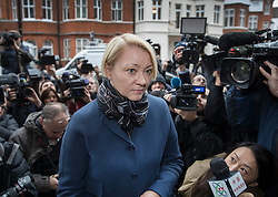 © Licensed to London News Pictures. 14/11/2016. London, UK.  Swedish Chief Prosecutor Ingrid Isgren is surrounded by reporters and TV crews as she arrives at the Ecuadorian Embassy in London where she is expected to interview WikiLeaks editor-in-chief, Julian Assange. Assange, who has been living at the embassy for over four years, is wanted for questioning over accusations of rape in Stockholm in 2010. Photo credit: Peter Macdiarmid/LNP