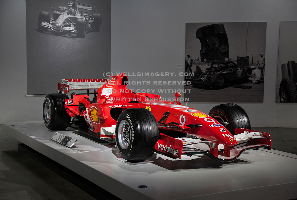 Image of Michael Schumacher's Ferrari 248 F1 which he raced in the Monaco Formula One Grand Prix in 2006, now at the Petersen Museum, Los Angeles, California, America west coast