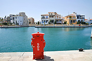 Emergency SOS red box. Limassol Marina and port, Cyprus