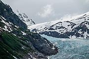 Bear Glacier seen from Highway 37A, near Stewart, British Columbia, Canada. Bear Glacier Provincial Park is halfway between Meziadin Junction and Stewart.