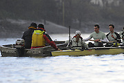 Putney, GREAT BRITAIN,   2008 Boat Race, Tideway Week,  Cambridge,  right to left,  Tom EDWARDS, Ryan MONAGHAN, Cox Rebecca DOWBIGGIN. coaches left Donald LEGGETT and Duncan HOLLAND, during a  training outing on the River Thames, Thur's. 27.03.2008  [Mandatory Credit, Peter Spurrier / Intersport-images Varsity Boat Race, Rowing Course: River Thames, Championship course, Putney to Mortlake 4.25 Miles,