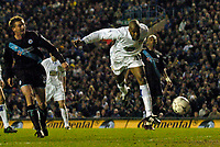 Photo. Jed Wee, Digitalsport.<br /> Leeds United v Leicester City, FA Barclaycard Premiership, Elland Road, Leeds. 05/04/2004.<br /> Leeds' Michael Duberry scores the opening goal.