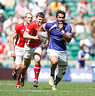Photo by Andrew Tobin/Tobinators Ltd. Afa Aiono of Samoa in action against Wales from the IRB London Rugby 7s tournament held at Twickenham Stadium, London on 12th May 2013. New Zealand won the tournament beating Australia in the final, and also won the overall 2012/13 series.