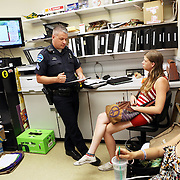 Police Sgt. Todd Moran cites and releases alleged shoplifters at a downtown supermarket. Since federal timber payments have ceased in Josephine County and other parts of Southwest Oregon, the tax-base has shrunk. In Grants Pass, the county seat, shoplifting and other property crime are up, and law enforcement personnel numbers are down.