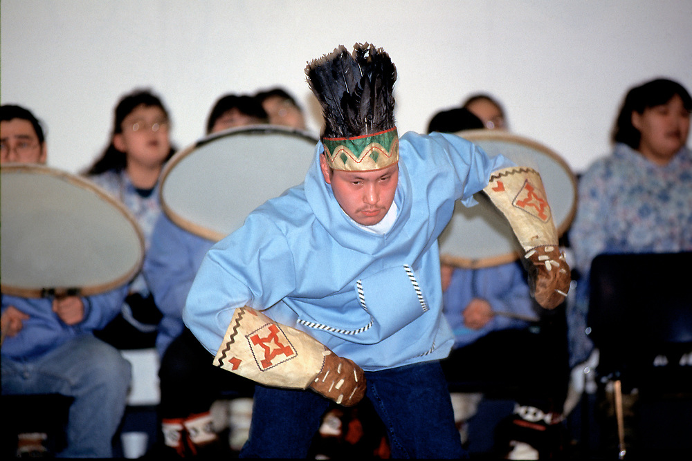 Young man Alaskan native dancer in Barrow