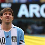 Lionel Messi, Argentina, during the team presentations before the Brazil V Argentina International Football Friendly match at MetLife Stadium, East Rutherford, New Jersey, USA. 9th June 2012. Photo Tim Clayton