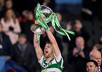 Football - 2019 Betfred Scottish League Cup Final - Celtic vs. Rangers<br /> <br /> Kristoffer Ajer of Celtic lifts the trophy, Hampden Park Glasgow.<br /> <br /> COLORSPORT/BRUCE WHITE