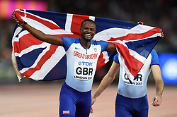 Rabah Yousif of Great Britain celebrates a bronze medal finish - Mandatory byline: Patrick Khachfe/JMP - 07966 386802 - 13/08/2017 - ATHLETICS - London Stadium - London, England - Men's 4x400m Metres Relay Final - IAAF World Championships