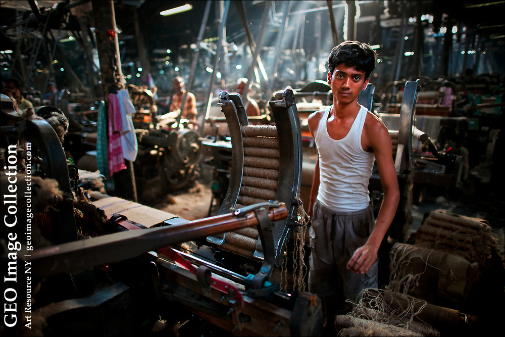 Migrant workers from Bihar turn raw jute into bolts of golden fiber inside the Hastings Jute Mill, an industrial relic built in 1858 by Scottish millers from Dundee.  Kolkata, formerly Calcutta, remains the world capital of jute processing , making burlap bags, carpet backing, decorative fabrics, and rope.