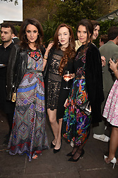 Left to right, Rosanna Falconer, Olivia Grant and Sarah Ann Macklin at The Ivy Chelsea Garden's Annual Summer Garden Party, The Ivy Chelsea Garden, 197 King's Road, London England. 9 May 2017.<br /> Photo by Dominic O'Neill/SilverHub 0203 174 1069 sales@silverhubmedia.com