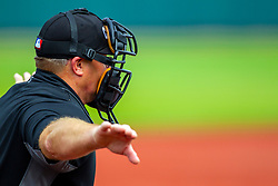 25 May 2019:  Umpire Bill McGuire calls the batter safe and credits a ball to the count. Missouri Valley Conference Baseball Tournament - Dallas Baptist Patriots v Indiana State Sycamores at Duffy Bass Field in Normal IL<br /> <br /> #MVCSPORTS