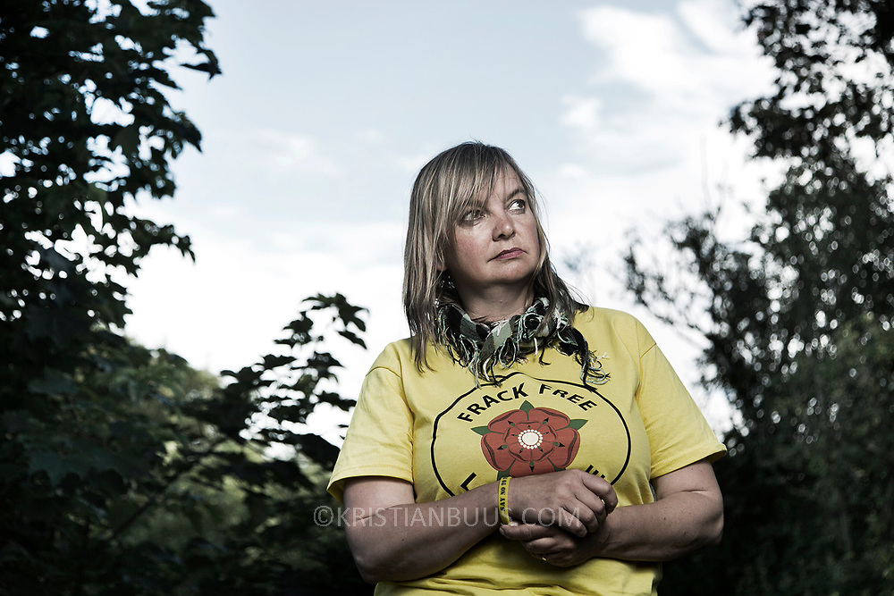 Miranda Cox, Kirkham councillor in Lancashire and anti-fracking activist. Photgraphed before her first lock-on, a peaceful direct action to shut the gates to Quadrilla's fracking site in new Preston Road.