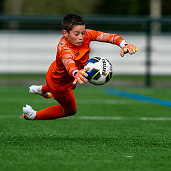 Keeper Dean #1 of VV Maarssen in action. VV Maarssen O14-1 played the fifth match of the competition against Hercules JO14-1. Maarssen lost 1-0 on October 10, 2020 at Sportpark Voordorp in Utrecht.
