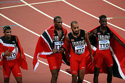 LONDON, Aug. 14, 2017  Team Trinidad and Tobago celebrate after Men's 4X400 Relay Final on Day 10 of the 2017 IAAF World Championships at London Stadium in London, Britain, on Aug. 13, 2017. Team Trinidad and Tobago claimed the title with 2 minutes 58.12 seconds. (Credit Image: © Luo Huanhuan/Xinhua via ZUMA Wire)