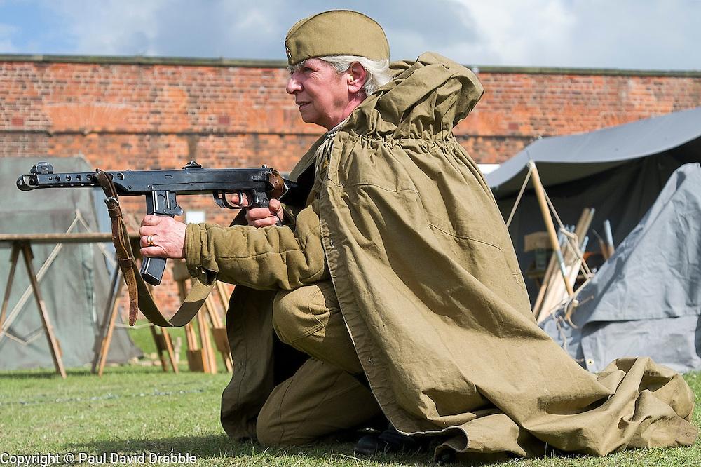 Soviet 699th take part in the battle reenactment at Fort Paull <br /> <br /> 03 May 2015<br /> Image © Paul David Drabble<br /> www.pauldaviddrabble.co.uk