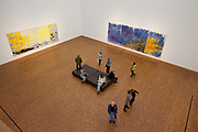 Visitors looking at the paintings in the Gallery museum Ludwig, Cologne. Exhibition - Joan Mitchell Retrospective. Her Life and Paintings.