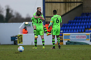 Goal scorer, Forest Green Rovers Marcus Kelly(10) is congratulated, 0-1 during the FA Trophy 2nd round match between Chester FC and Forest Green Rovers at the Deva Stadium, Chester, United Kingdom on 14 January 2017. Photo by Shane Healey.