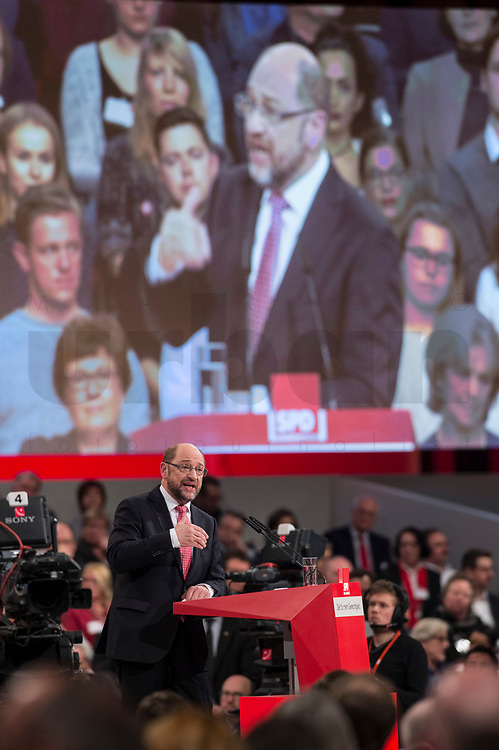 19 MAR 2017, BERLIN/GERMANY:<br /> Martin Schulz, SPD, haelt seine Rede vor seiner Wahl zum SPD Parteivorsitzenden und SPD Spitzenkandidat der Bundestagswahl, a.o. Bundesparteitag, Arena Berlin<br /> IMAGE: 20170319-01-034<br /> KEYWORDS: party congress, social democratic party, candidate, speech