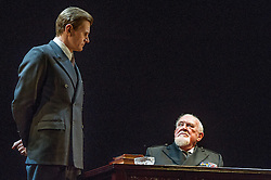 © Licensed to London News Pictures. 26/03/2012. London, UK. Playful Productions and Michael Alden present the stage production of The Kings Speech, by David Seidler, at Wyndhams Theatre, London.Picture shows: Charles Edwards as Bertie and Joss Ackland as King George V. Photo credit : Tony Nandi/LNP