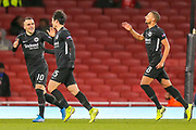 GOAL 1-1 Eintracht Frankfurt midfielder Daichi Kamada (15) scores and celebrates during the Europa League match between Arsenal and Eintracht Frankfurt at the Emirates Stadium, London, England on 28 November 2019.
