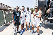 THOUSAND OAKS, CA Sunday, August 12, 2018 - Nike Basketball Academy. Patrick Williams 2019 #20 of West Charlotte HS, Isaiah Stewart 2019 #23 of La Lumiere School, Alonzo Gaffney 2019 #8 of Brewster Academy and Cassius Stanley 2019 #15 of Sierra Canyon HS pose for a photo. <br /> NOTE TO USER: Mandatory Copyright Notice: Photo by Jon Lopez / Nike