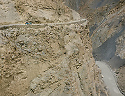 A jeep on the road to Shimshal village, one of the remotest village in Gojal region, upper Hunza.