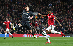Manchester United's Marcus Rashford scores his side's second goal of the game Luke Shaw during the UEFA Champions League match at Old Trafford, Manchester.
