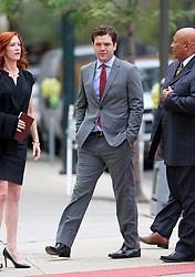 "Taylor Swift v David Mueller trial in Denver day five arrivals at court. Pictured Taylor Swift's brother, Austin, publicist Tree Paine and security detail leaving the Ritz-Carlton hotel to walk to the nearby courthouse. Also sign in a nearby office window that reads ""FEARLESS."". 11 Aug 2017 Pictured: Taylor Swift's brother, Austin Swift. Photo credit: Leigh Green/MEGA TheMegaAgency.com +1 888 505 6342"