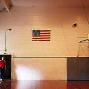 The old Weston Normal School's gym. Rob McIntyre is the music teacher for the small community schools in Weston and Athena, northeast of Pendleton. He teaches instruments as diverse as the guitar, drums, ukelele and bagpipe to students to elementary, middle and high school students.