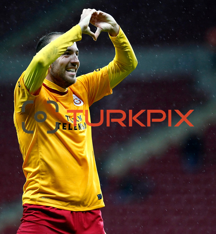 Galatasaray's Sercan Yildirim celebrate his goal during their Turkey Cup matchday 3 soccer match Galatasaray between AdanaDemirspor at the Turk Telekom Arena at Aslantepe in Istanbul Turkey on Tuesday 10 January 2012. Photo by TURKPIX