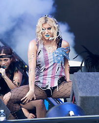 Kesha plays the main stage.<br /> T in the Park on Saturday 9th July 2011. T in the Park 2011 music festival takes place from 7-10th July 2011 in Balado, Fife, Scotland.