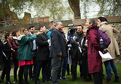 """Labour party activist Marc Wadsworth (centre) speaks to the media in Westminster, London, after he was expelled from the party following a hearing by Labour's disciplinary body which found his behaviour had been """"grossly detrimental to the party""""."""