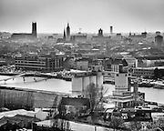 Ghent, Belgium, 22 mar 2012, Skyline of Ghent, seen from the highest point of De Oude Dokken
