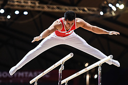 October 21, 2018 - Doha, Qatar - EDDY YUSOF from Switzerland practices on the parallel bars during the first day of podium training before the competition held at the Aspire Dome in Doha, Qatar. (Credit Image: © Amy Sanderson/ZUMA Wire)