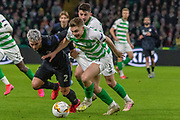James Forrest of Celtic FC fighting for every ball as his team trail 2-1 during the Europa League match between Celtic and FC Copenhagen at Celtic Park, Glasgow, Scotland on 27 February 2020.