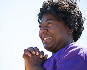 C. Flavor Dyer, survivor of stomach and lung cancer, is overcome with emotion during the opening ceremony of Relay For Life at the Milpitas Sports Center in Milpitas, California, on June 22, 2013. (Stan Olszewski/SOSKIphoto)