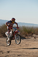 1x Honda motorcyle ridden by David Kamo passes race mile 58 in 2012 San Felipe Baja 250, San Felipe, Baja California, Mexico.