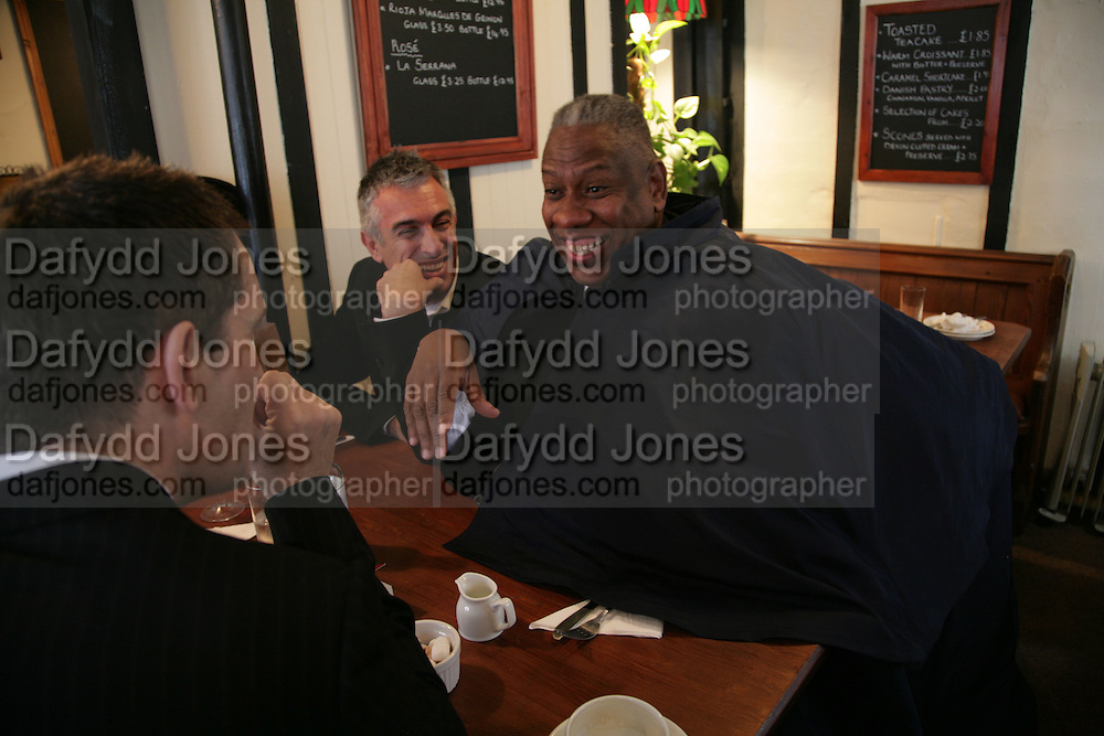 Rifat Ozbek, Andre Leon Talley and Rupert Everett, Funeral for Isabella Blow. Gloucester Cathedral. 15 May 2007.  -DO NOT ARCHIVE-© Copyright Photograph by Dafydd Jones. 248 Clapham Rd. London SW9 0PZ. Tel 0207 820 0771. www.dafjones.com.