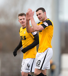 East Fife's Kevin Smith scorer at the end of the game. <br /> East Fife 1 v 0 Stirling Albion, Scottish Football League Division Two game played atBayview Stadium, 20/2/2106.