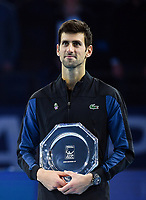 Tennis - 2018 Nitto ATP Finals at The O2 - Day Eight<br /> <br /> Final Singles: Novak Djokovic (SRB) vs. Alexander Zverev (GER)<br /> <br /> Djokovic with the runners up trophy.<br /> <br /> COLORSPORT/ASHLEY WESTERN