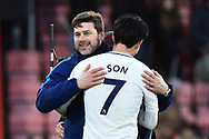 Tottenham Hotspur manager Mauricio Pochettino hugs Heung-Min Son (7) of Tottenham Hotspur in celebration at full time after a 4-1 win over Bournemouth during the Premier League match between Bournemouth and Tottenham Hotspur at the Vitality Stadium, Bournemouth, England on 11 March 2018. Picture by Graham Hunt.