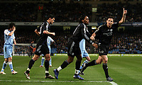 Photo: Paul Thomas.<br /> Manchester City v Chelsea. The Barclays Premiership. 14/03/2007.<br /> <br /> Frank Lampard celebrates his penalty with Didier Drogba and Michael Ballack.