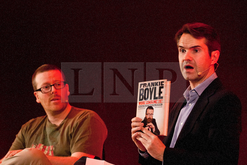 ©  London News Pictures. London, UK. FILE PICTURE DATED 21/11/2011. Comedians Frankie Boyle and Jimmy Carr speaking together at the The Apple Store, Regent Street, London.  The Daily Mail newspaper has reported that Frankie Boyle made significant tax savings by using tax loopholes. The paper claims that Boyle could have .avoided paying nearly £900,000 in tax  through the voluntary liquidation of his  firm last year. It has been revealed that Jimmy Carr has been paying as little as 1% tax by using the Jersey-based K2 tax scheme.  Photo credit: Tolga Akmen/LNP.
